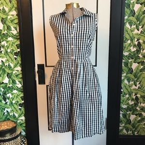 Vintage Style Gingham Shirt Sun Dress